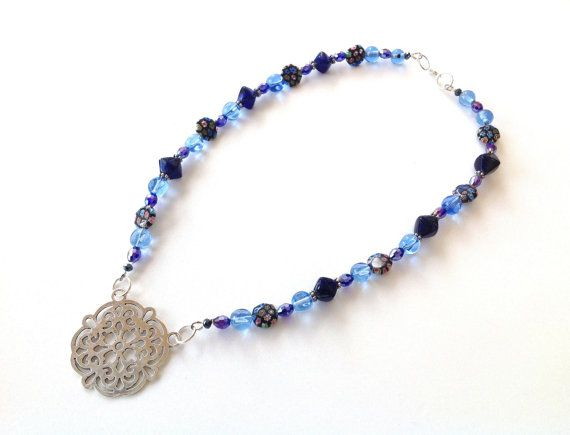 Blue Murano glass and crystal beaded necklace with filigree