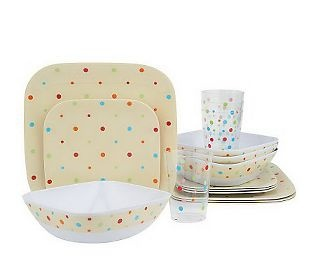 Temp Tations Old World Or Polka Dot 16 Pc. Outdoor Dinnerware Set