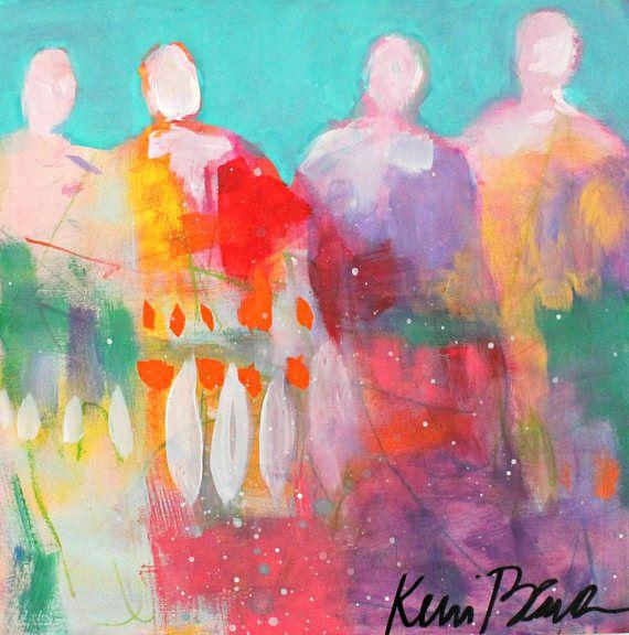 "Small Abstract Figure Painting Colorful Original Artwork Small, Spiritual ""Rainbow Tribe"" 8x8"" by Kerri Blackman"