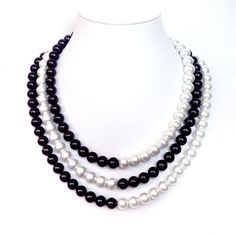 SALE Black and White Pearl Necklace 3 Strands by GetNoticed