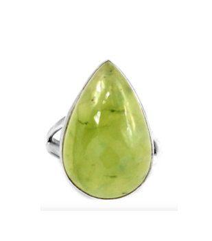 Genuine Green Phrenite Gemstone set into 925 Sterling Silver Tear Drop Statement Jewellery Ring US Sz.9 by Ameogem on Etsy