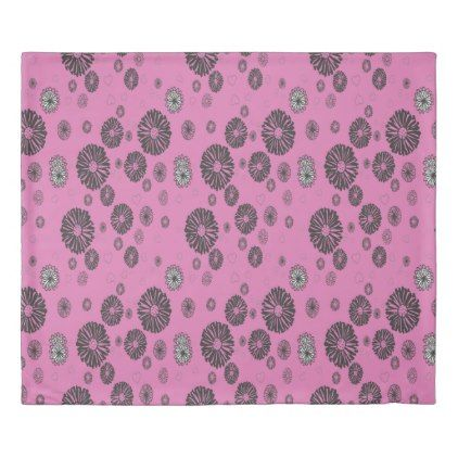 Mod Black and White Graphic Flowers On Pink Duvet Cover - modern gifts cyo gift ideas personalize