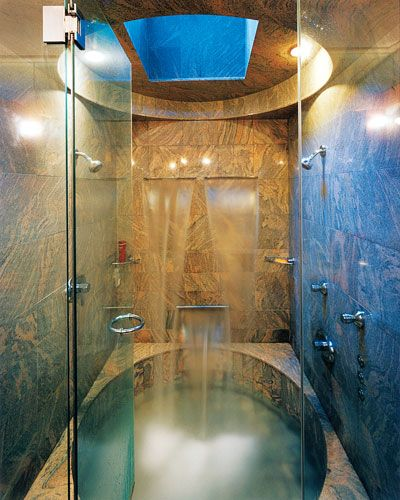How to combine shower and bath in a narrow space. Pamper yourself with a tub like this one.