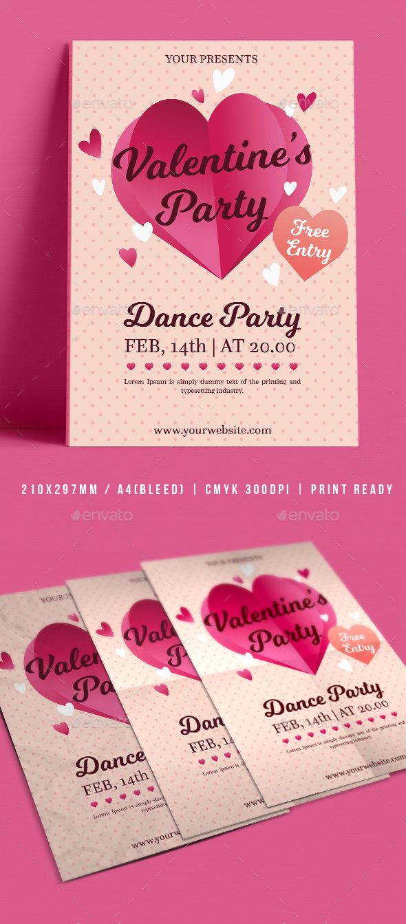 Valentine S Day Flyer Events Flyers Flyer Templates Pinterest
