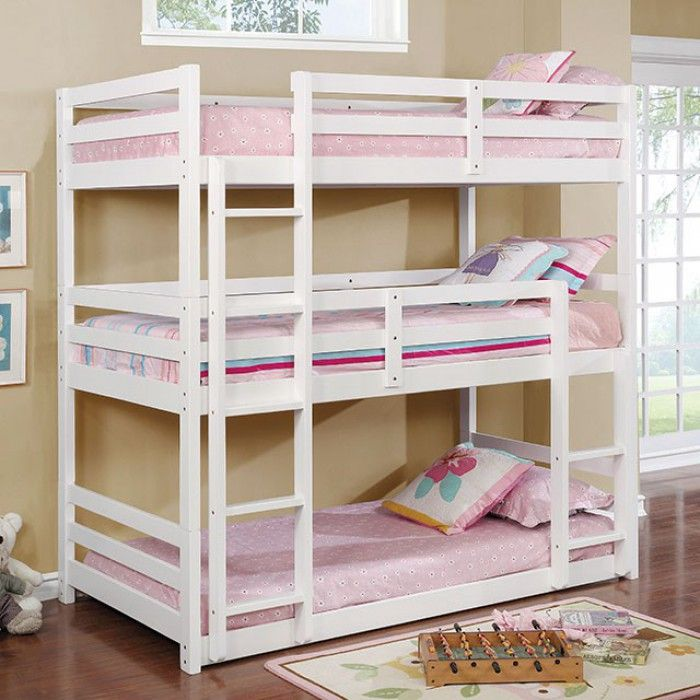 Cm Bk589wh California V Triple Twin Bed Twin Over Twin Over Twin White Finish Wood Bunk Bed With Images Twin Bunk Beds Bunk Beds Kids Bunk Beds