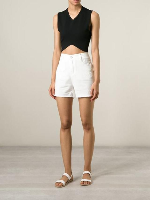 "18 Cool Ways To Style Your Denim Shorts or ""Jorts"": White Jean Shorts and Crop Top"