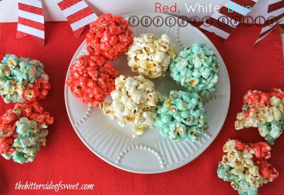 Red White Blue Popcorn Balls | thebittersideofsweet.com
