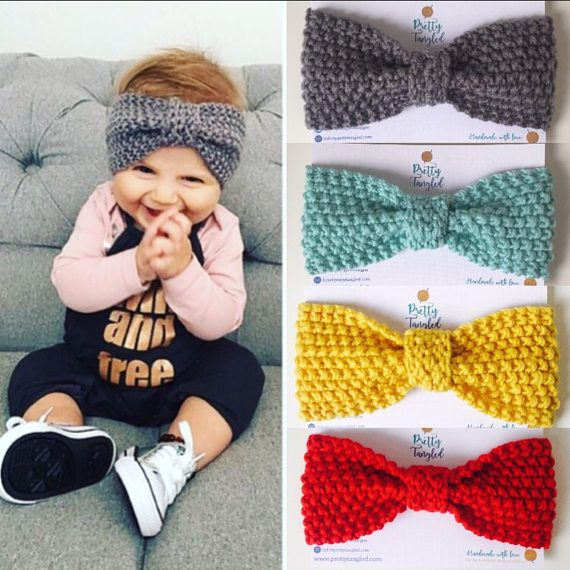 Baby hair bow | headband | knitted headband | crochet headband | ear warmer |baby ear warmer | mustard bow | Chic | stylish | toddler | girls |afflink