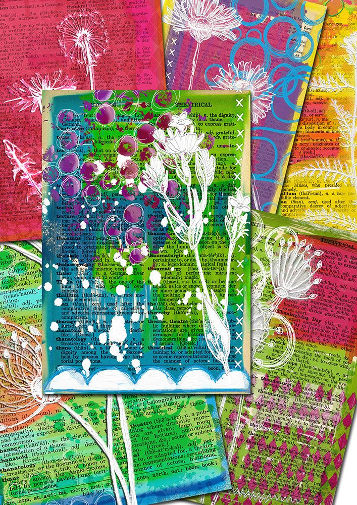 6 Handrawn mixed media journal backgrounds by Lilymelba on Etsy