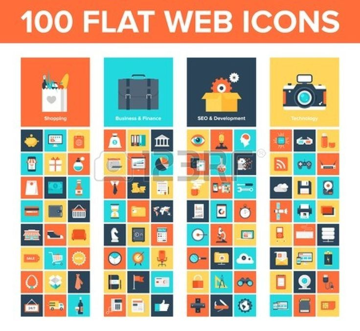 A collection of flat and colorful web icons #web #design #icons #flat #app #mobile #vector #business