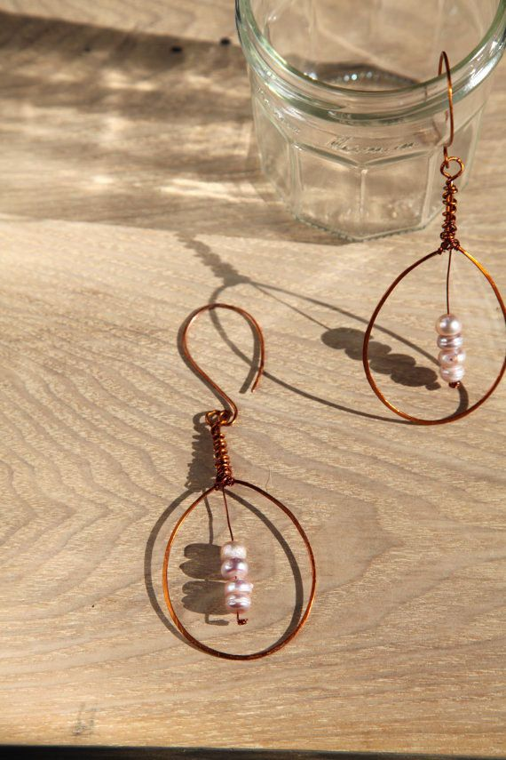 Unique cultured pearls handmade copper long earrings. by alfiyaV