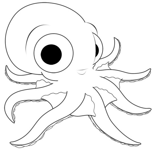 Black and white drawing of an octopus