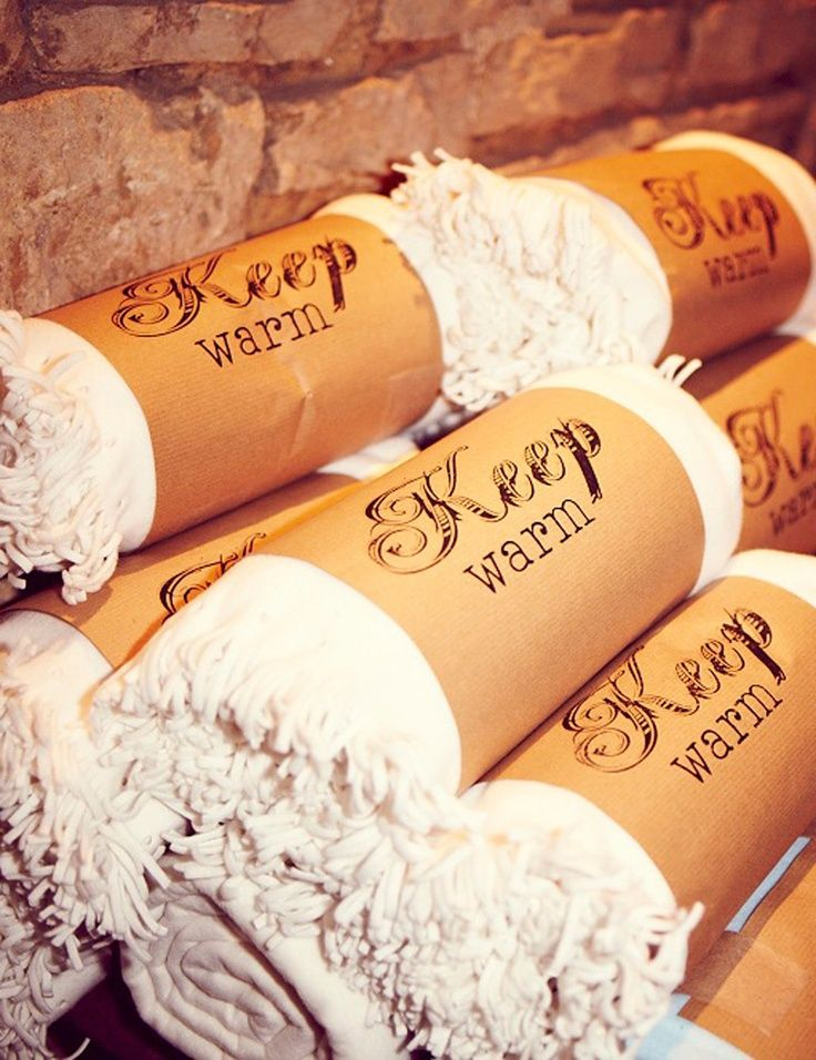 Keep Warm Guest Blankets – cute for a winter time party favor