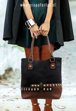cartera negra-cafe con tachas