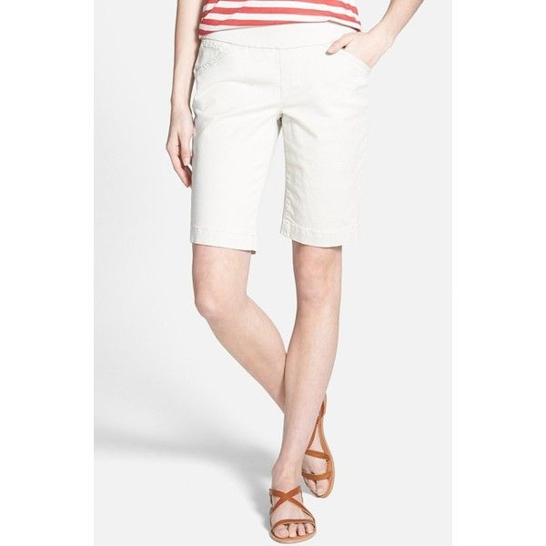 Women's Jag Jeans 'Ainsley' Slim Bermuda Shorts ($64) ❤ liked on Polyvore featuring shorts, petite, stone, petite shorts, slim fit shorts, jag shorts, lightweight shorts and jag jeans shorts
