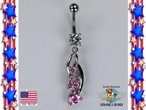 Blume und Herz baumeln Bauch Ring Pink Ice CZ Bauchnabel Ring Nabel Ring Piercing Schmuck 14G (A24)   – Products
