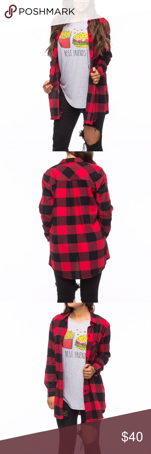 Buffalo Plaid Flannel Tunic Button up buffalo plaid tunic. So many ways to wear it. Timeless print! Tops Button Down Shirts