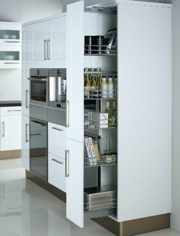 Armario para despensa junto a columna horno y microondas