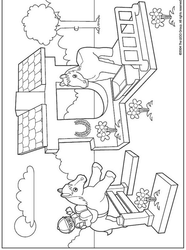 lego duplo coloring pages horse stable - Lego Friends Horse Coloring Pages