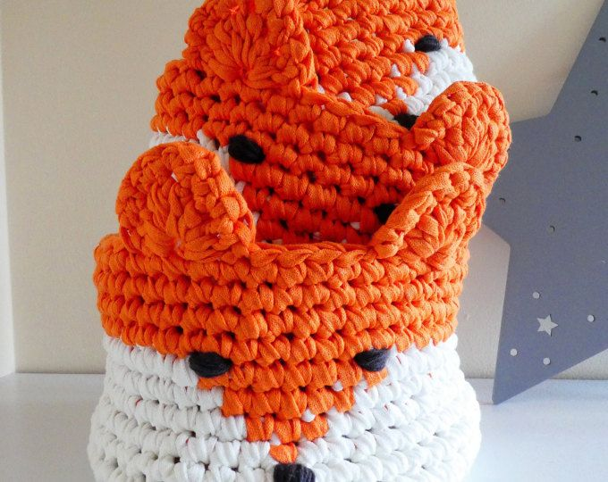 Fox Crochet Baskets / Nursery Decor / Baby shower