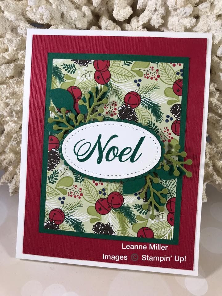 Noel Christmas Card Using Under The Mistletoe Dsp By Stampinup