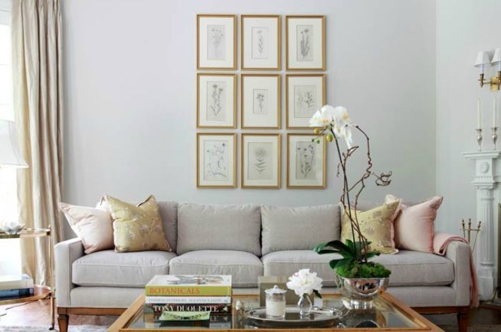 Grey & Gold Picture frame collection above the bedroom fireplace?