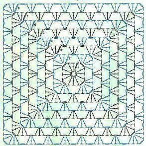 схема узора бабушкин квадрат