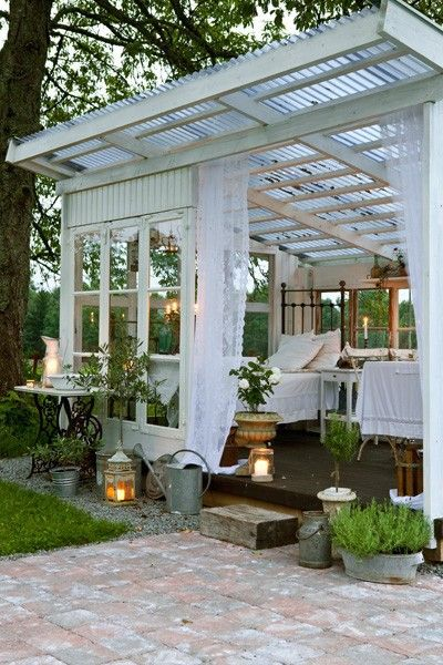 Lovely outdoor room ... I'd prefer to set room up a quiet zone for reading, scrabble playing, and/or meditation  rather than a bedroom.