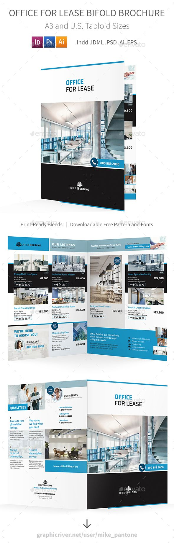 Office For Lease Bifold / Halffold Brochure Template PSD, Vector EPS, InDesign INDD, AI Illustrator
