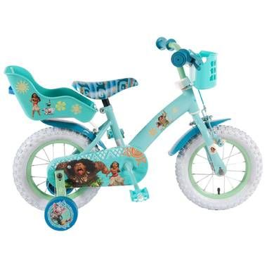Disney Vaiana kinderfiets kinderfiets Moana - 12 inch  Draai de trappers in het rond en rijden maar! Deze Disney Vaiana kinderfiets is voorzien van een mandje een poppenzitje en afneembare zijwieltjes. Waar rijd jij morgen naartoe?  EUR 119.95  Meer informatie
