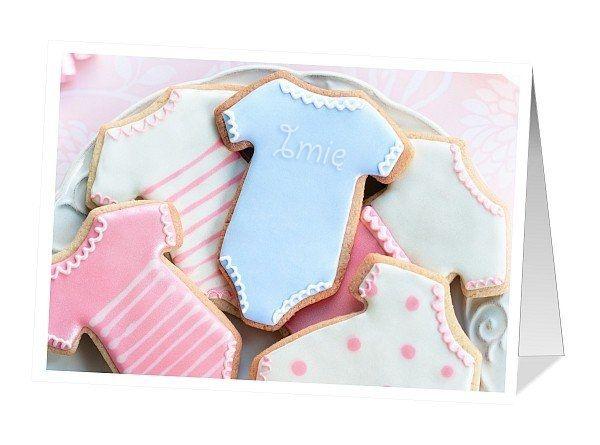 Kartka ze słodkimi, ciasteczkowymi śpioszkami