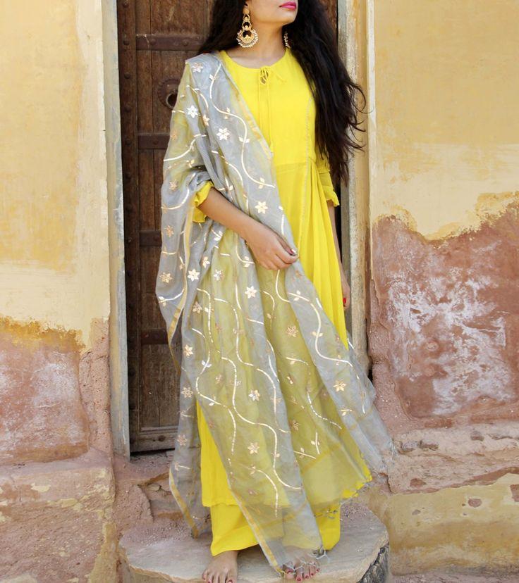 Yellow Crepe Salwar Kameez