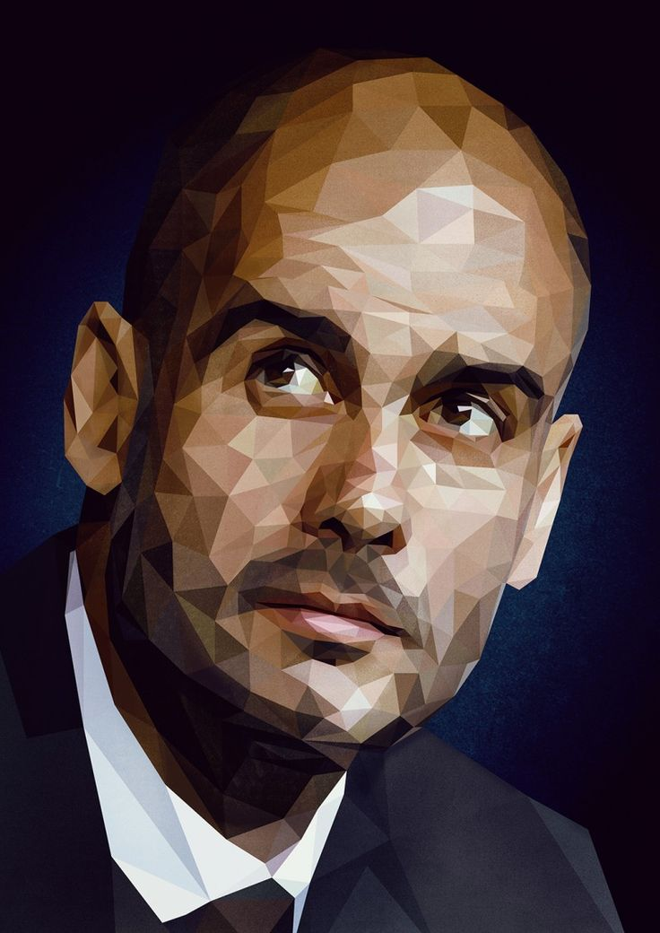 Pep Guardiola. Vector illustrations of the biggest and most successful football managers.