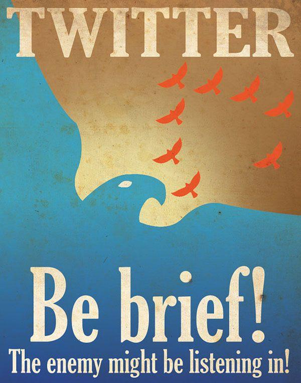 Cartel vintage de Twitter