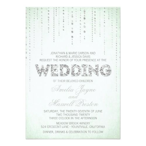 9 best pink and lime green wedding ideas images on pinterest silver wedding glitter invitations mint silver glitter look wedding invitation stopboris Gallery