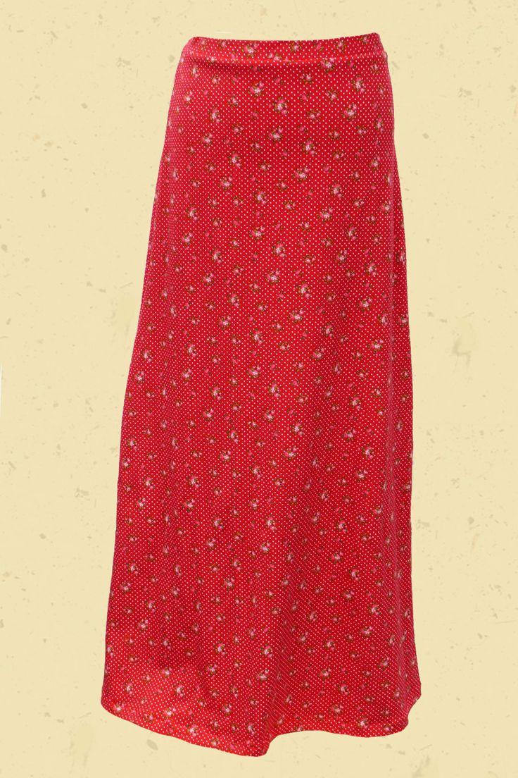 Talulabelle Maxi skirt red floral print and polkadots maxi rok rood bloemenprint en stippen