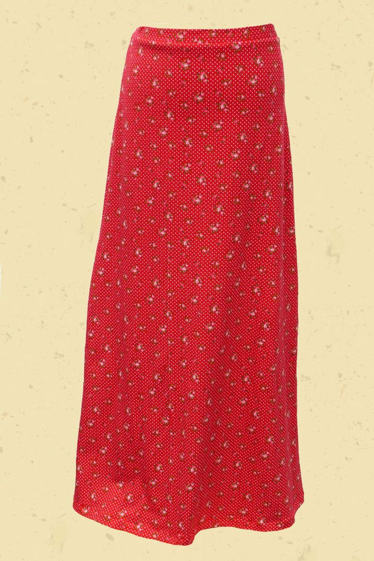 Maxi skirt red floral print and dots
