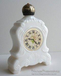 vintage avon products | Vintage Avon - Leisure Hours - Mantle Clock Perfume Decanter - Milk ...