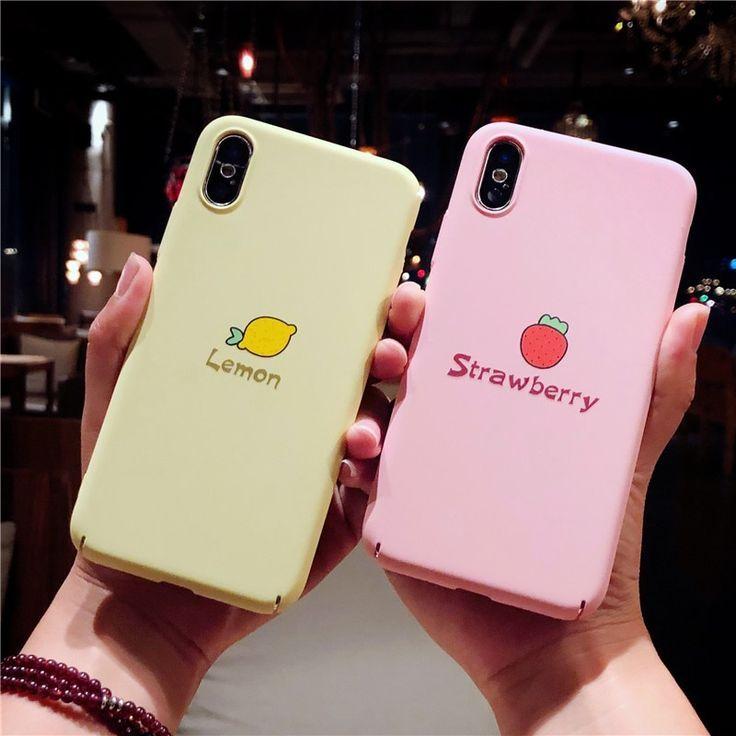 Karikatur-nette Telefon-Kästen für iPhone 6 6s 7 8 Plusx reizender Zitronen-Frucht-harter Oberteil-Fall   – Handyhüllen