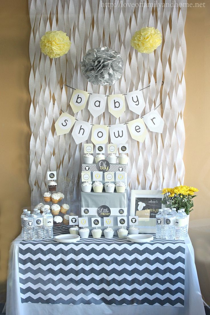Gray Yellow Baby Shower Decorating Ideas Diys Crafts Recipes Pinterest Showers And Streamers