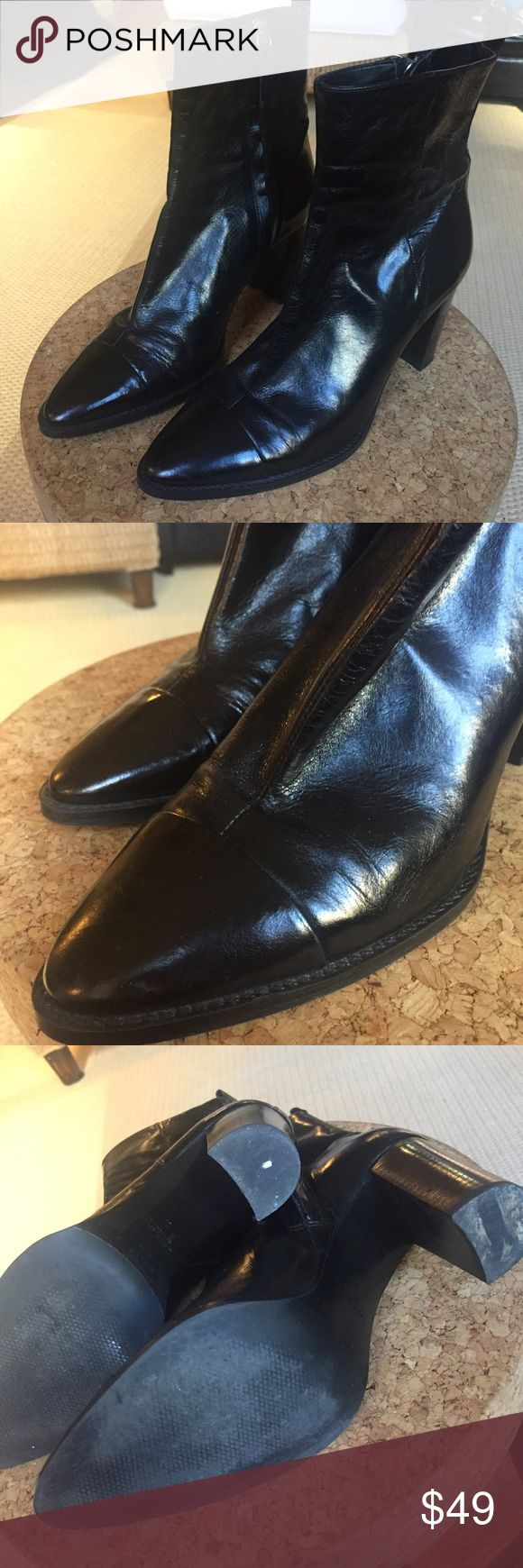 ZARA Shiney Leather Ankle Boots, Sleek! 👌🏼🖤 Worn just a few times - very reasonable heel height; a shiny sleek leather bootie, cap toe in matching leather. Really great condition, no notable flaws but just gently worn the few times. Sleek fit!! 🖤 PLEASE NOTE: These are a Zara 39, but I wear an 8.5 so I marked accordingly. Feel free to ask any possible questions! 🌸 Zara Shoes Ankle Boots & Booties