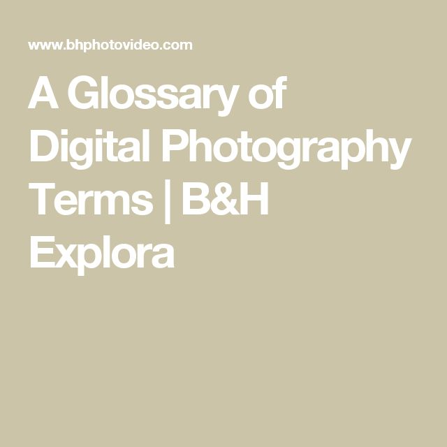 A Glossary of Digital Photography Terms | B&H Explora