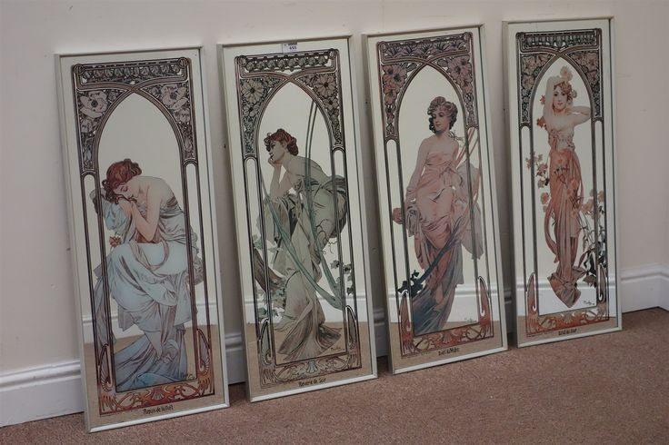 Set four mirrors with Alphonse Mucha transfers, 'Eclat du jour', 'Repos de la Duit', 'Reverie du Soir' and 'Eveil du Matin'