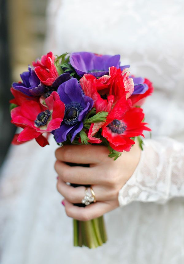 Anemone Seasonal Winter Wedding Flowers Ideas and Bouquet, via @whimwondwed