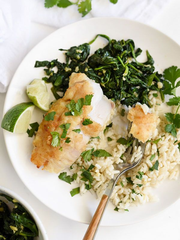 Almond-Crusted Cod with Coconut Rice and Ginger Spinach - foodiecrush