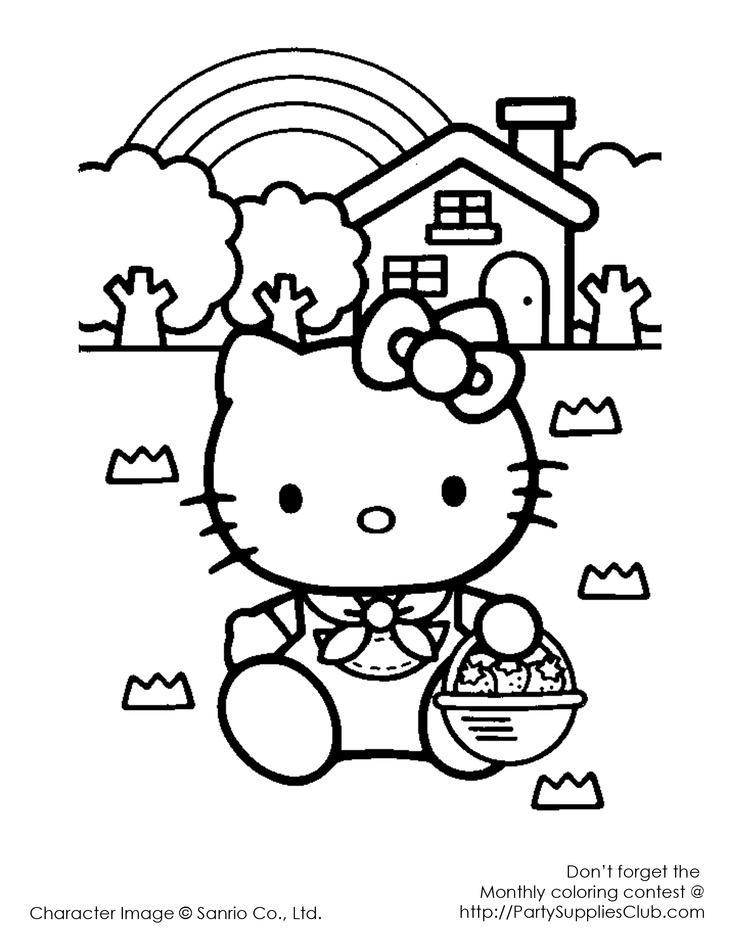 Hello Kitty Kitchen Coloring Pages : Hello kitty rainbow and strawberries kids coloring