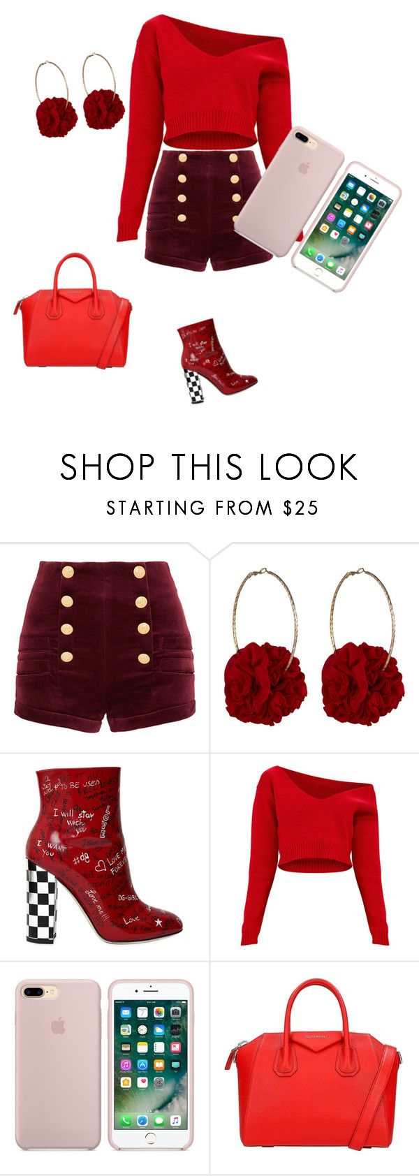 """Red"" by nisetje on Polyvore featuring mode, Pierre Balmain, Vjera Vilicnik, Dolce&Gabbana en Givenchy"