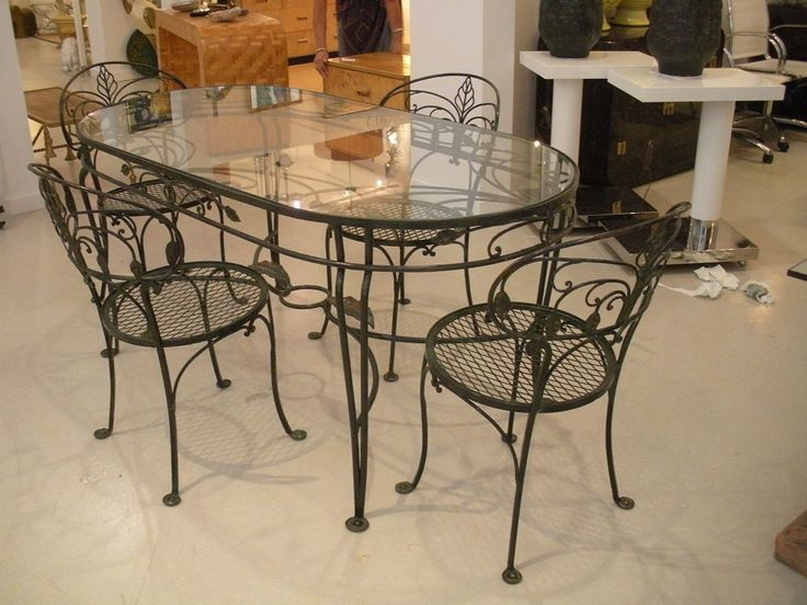 Wrought iron glass top dining table l i h 89 glass top for Ornamental centrepiece for a dining table