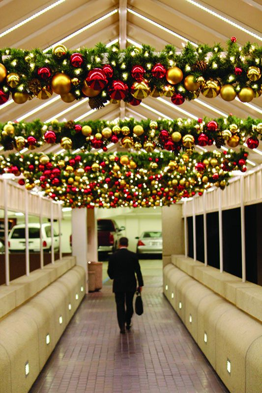 Classic Style Decorated Garland on Pedestrian Bridge