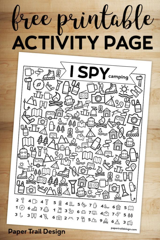 Free Printable I Spy Camping Kids Activity – #